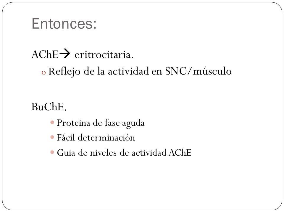 Entonces: AChE eritrocitaria. o R eflejo de la actividad en SNC/músculo BuChE. Proteina de fase aguda Fácil determinación Guia de niveles de actividad