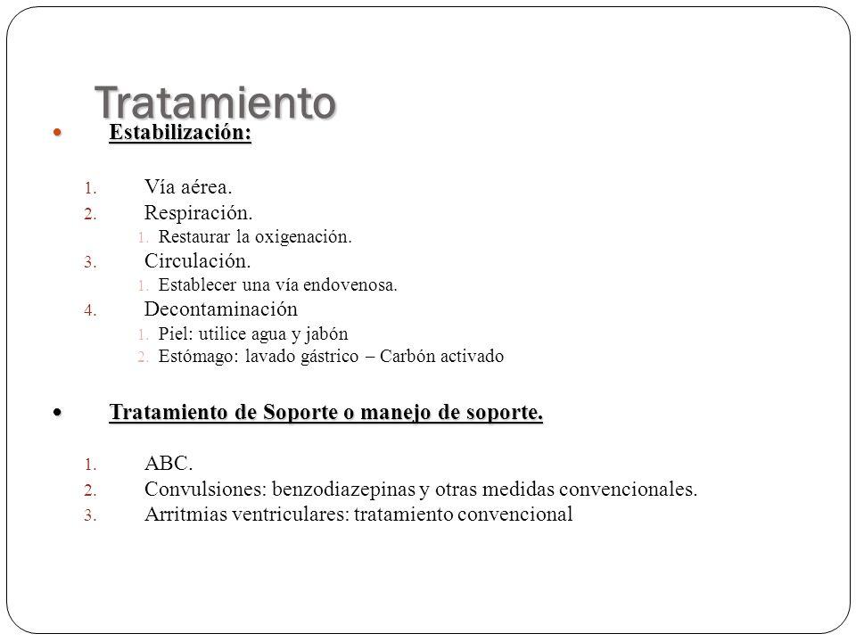 Tratamiento Estabilización: Estabilización: 1. Vía aérea. 2. Respiración. 1. Restaurar la oxigenación. 3. Circulación. 1. Establecer una vía endovenos
