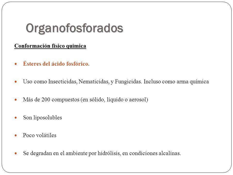 Organofosforados Conformación físico química Ésteres del ácido fosfórico. Uso como Insecticidas, Nematicidas, y Fungicidas. Incluso como arma química