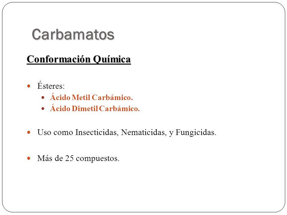 Carbamatos Conformación Química Ésteres: Ácido Metil Carbámico. Ácido Dimetil Carbámico. Uso como Insecticidas, Nematicidas, y Fungicidas. Más de 25 c