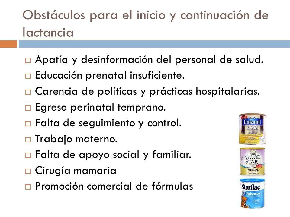Obstáculos para el inicio y continuación de lactancia Apatía y desinformación del personal de salud. Educación prenatal insuficiente. Carencia de polí