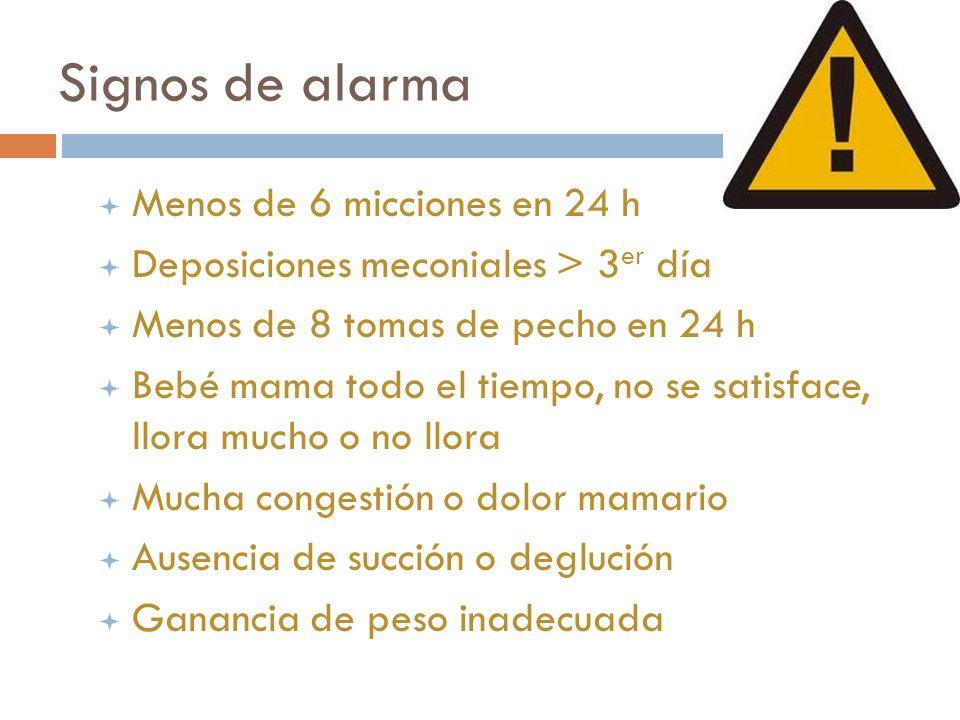 Signos de alarma ª Menos de 6 micciones en 24 h ª Deposiciones meconiales > 3 er día ª Menos de 8 tomas de pecho en 24 h ª Bebé mama todo el tiempo, n