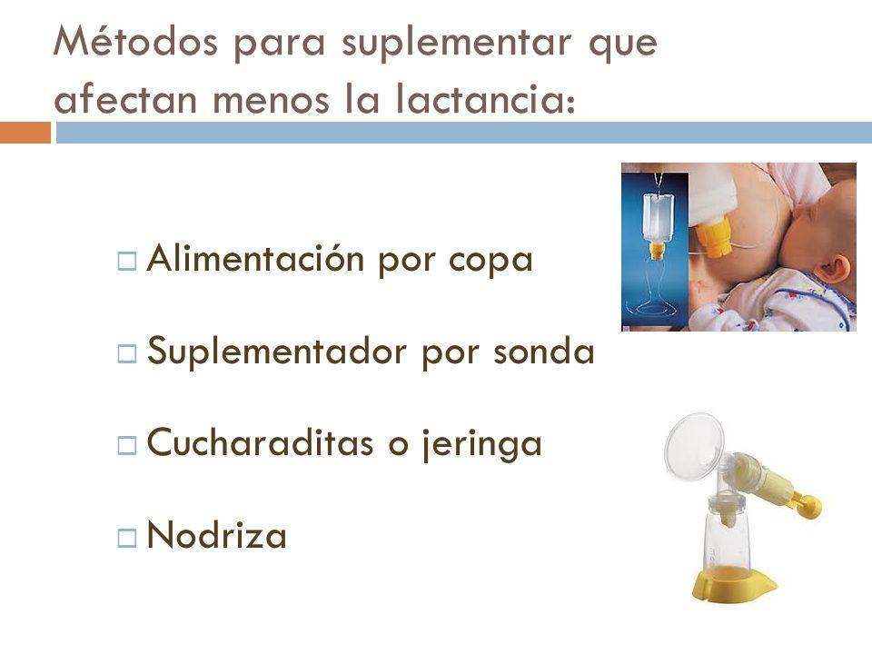 Métodos para suplementar que afectan menos la lactancia: Alimentación por copa Suplementador por sonda Cucharaditas o jeringa Nodriza