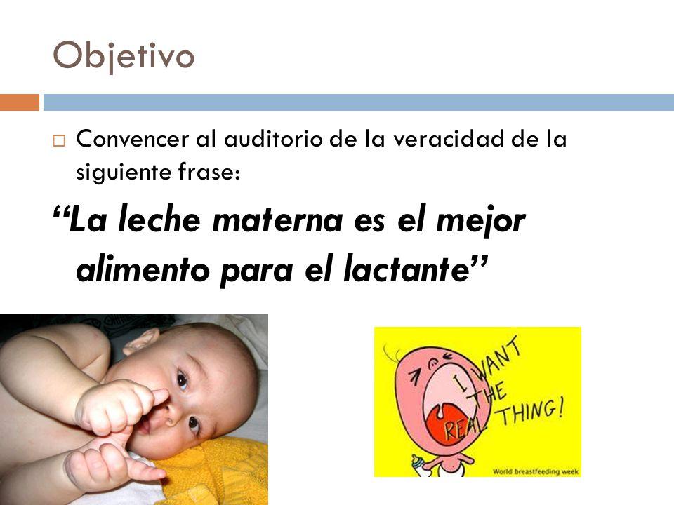 Objetivo Convencer al auditorio de la veracidad de la siguiente frase: La leche materna es el mejor alimento para el lactante