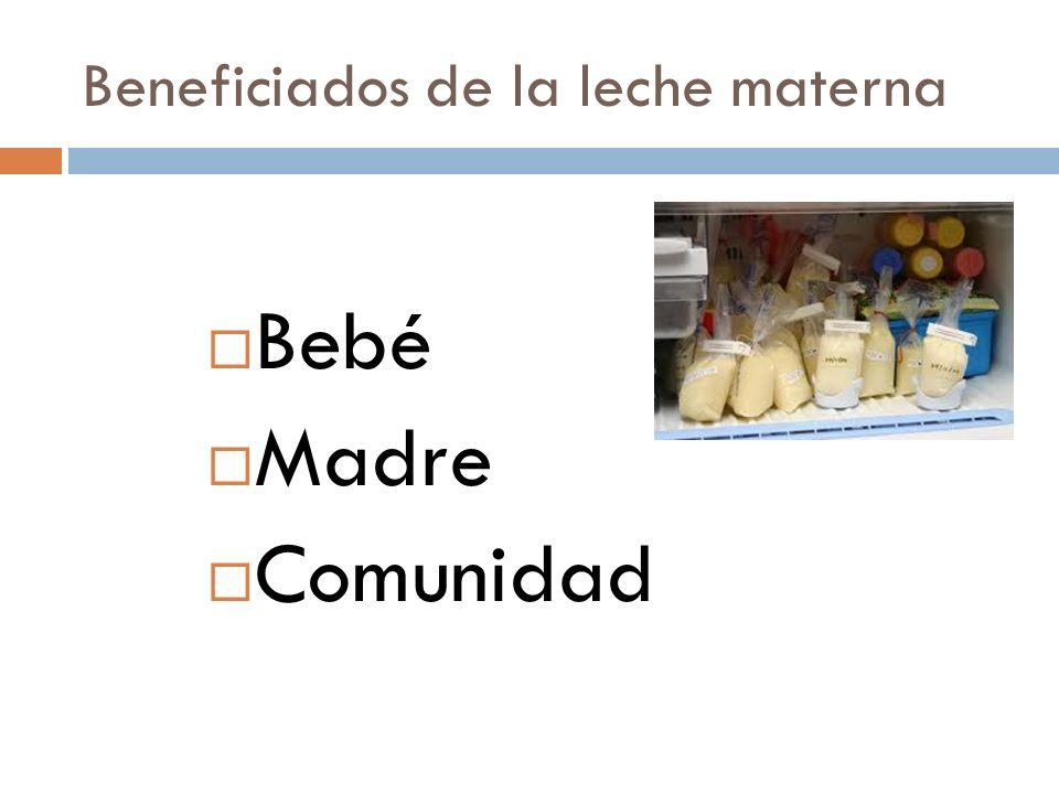 Bebé Beneficios nutricionales Proteínas de alta calidad Lípidos poliinsaturados Aminoácidos, taurina Vitaminas Fe ++ Cambio de composición de acuerdo a necesidades American Academy of Pediatrics.