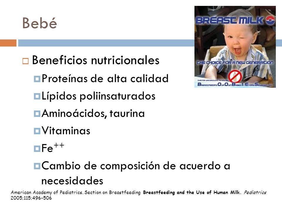 Bebé Beneficios nutricionales Proteínas de alta calidad Lípidos poliinsaturados Aminoácidos, taurina Vitaminas Fe ++ Cambio de composición de acuerdo