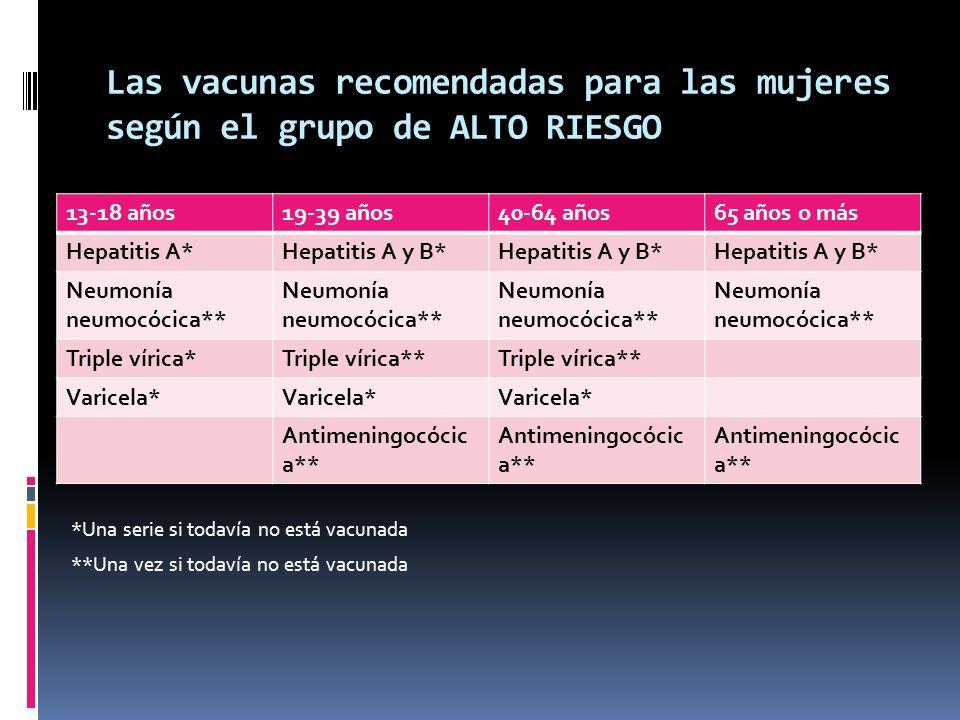 Las vacunas recomendadas para las mujeres según el grupo de ALTO RIESGO *Una serie si todavía no está vacunada **Una vez si todavía no está vacunada 1
