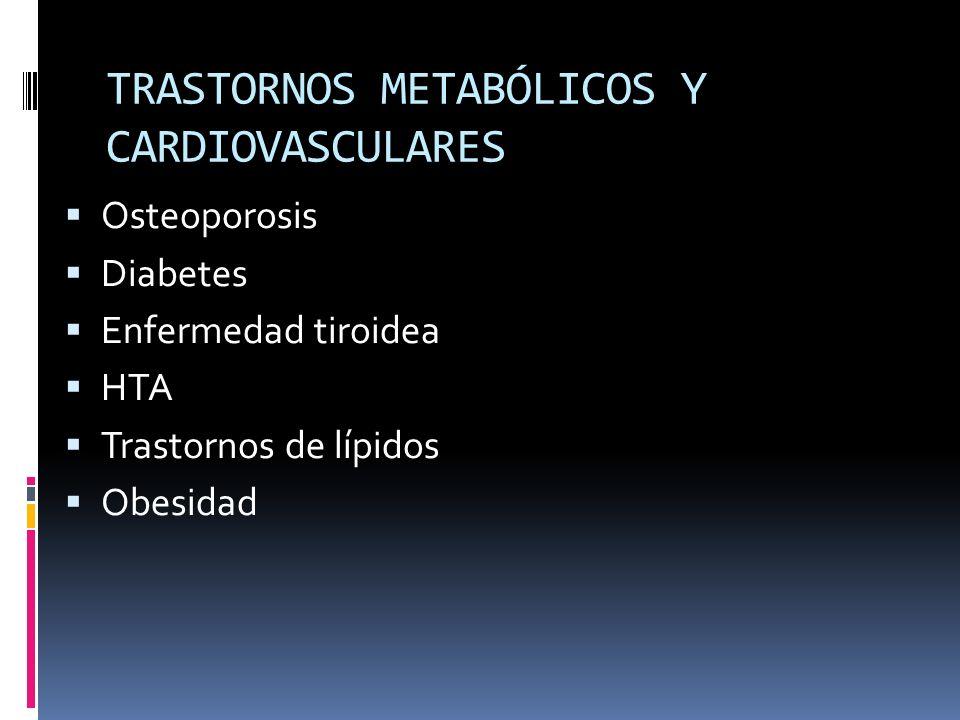 TRASTORNOS METABÓLICOS Y CARDIOVASCULARES Osteoporosis Diabetes Enfermedad tiroidea HTA Trastornos de lípidos Obesidad