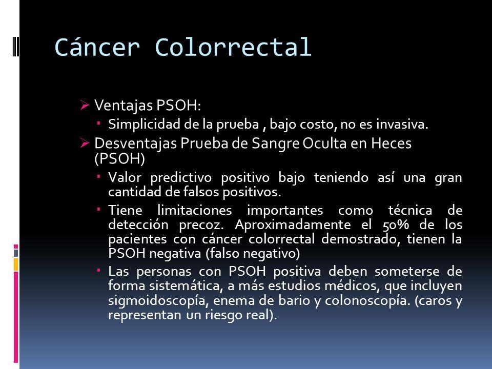 Cáncer Colorrectal Ventajas PSOH: Simplicidad de la prueba, bajo costo, no es invasiva. Desventajas Prueba de Sangre Oculta en Heces (PSOH) Valor pred