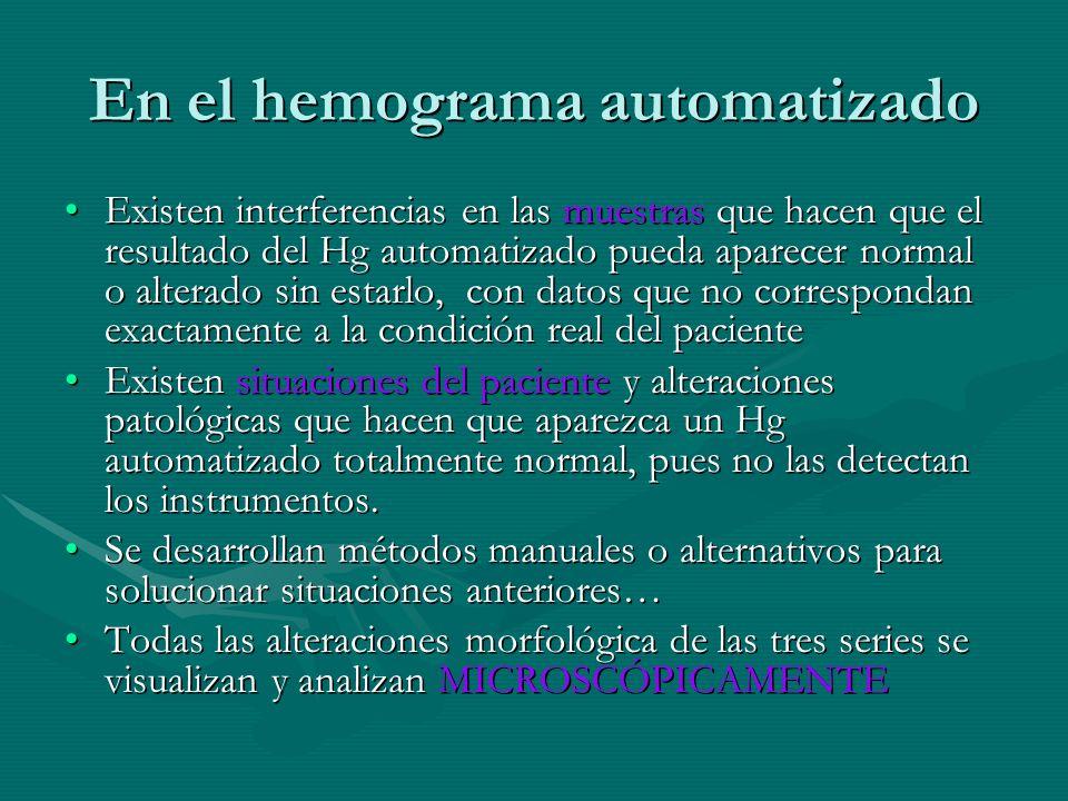 En el hemograma automatizado Existen interferencias en las muestras que hacen que el resultado del Hg automatizado pueda aparecer normal o alterado si