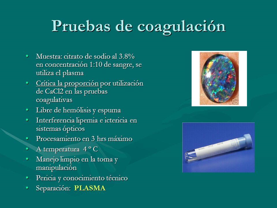 Pruebas de coagulación Muestra: citrato de sodio al 3.8% en concentración 1:10 de sangre, se utiliza el plasmaMuestra: citrato de sodio al 3.8% en con