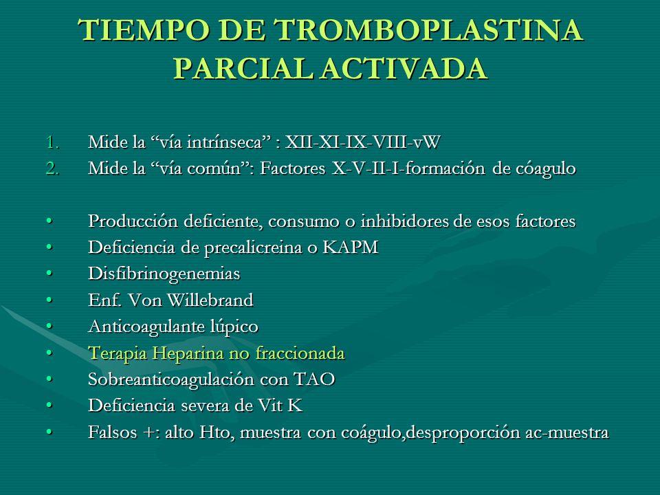 TIEMPO DE TROMBOPLASTINA PARCIAL ACTIVADA 1.Mide la vía intrínseca : XII-XI-IX-VIII-vW 2.Mide la vía común: Factores X-V-II-I-formación de cóagulo Pro