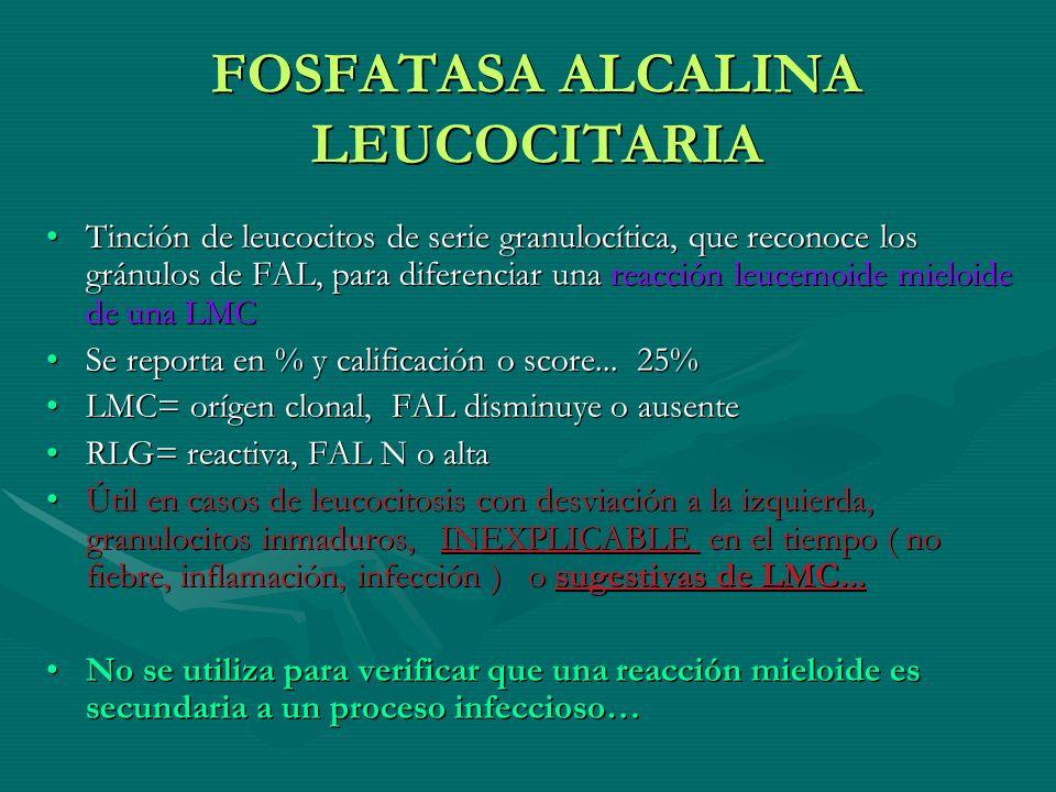 FOSFATASA ALCALINA LEUCOCITARIA Tinción de leucocitos de serie granulocítica, que reconoce los gránulos de FAL, para diferenciar una reacción leucemoi