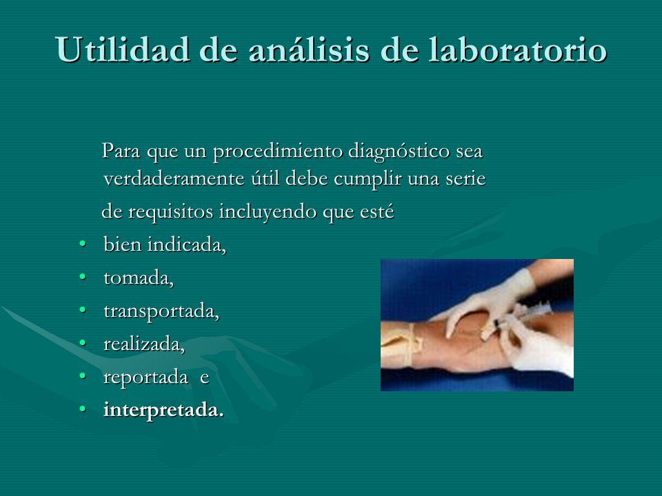 Utilidad de análisis de laboratorio Para que un procedimiento diagnóstico sea verdaderamente útil debe cumplir una serie Para que un procedimiento dia