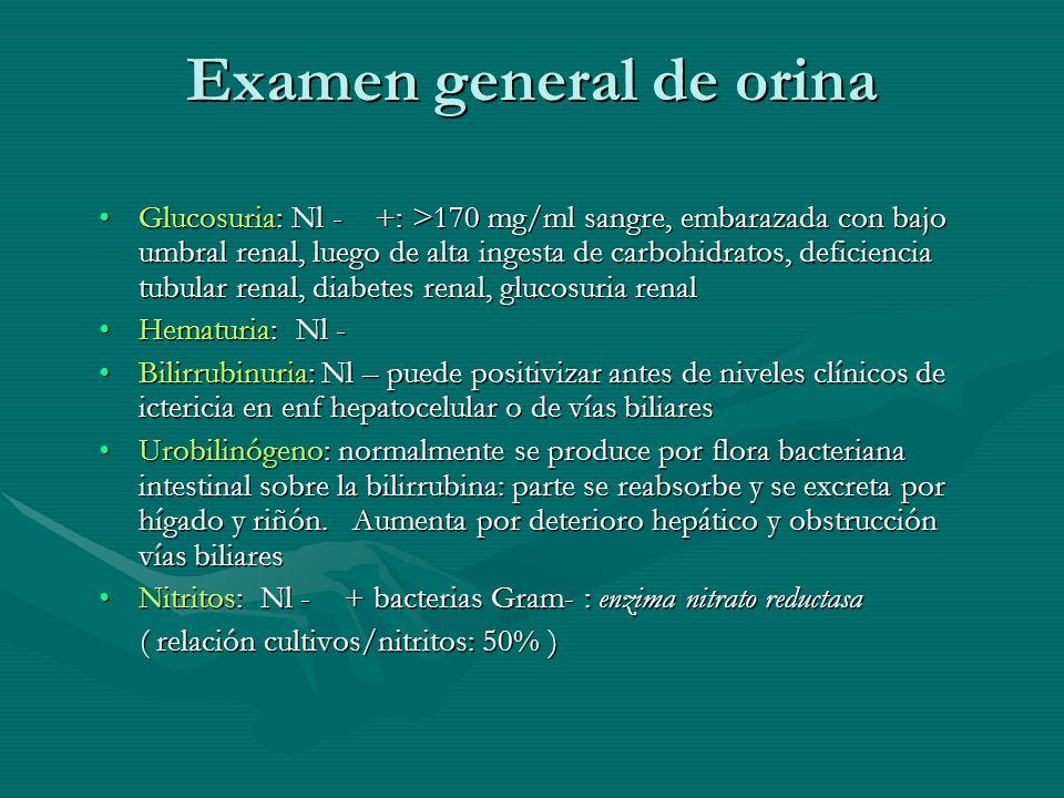 Examen general de orina Glucosuria: Nl - +: >170 mg/ml sangre, embarazada con bajo umbral renal, luego de alta ingesta de carbohidratos, deficiencia t