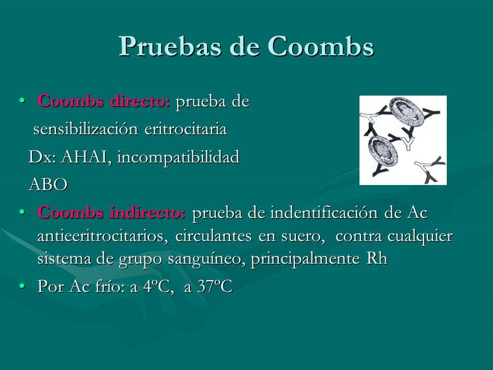 Pruebas de Coombs Coombs directo: prueba deCoombs directo: prueba de sensibilización eritrocitaria sensibilización eritrocitaria Dx: AHAI, incompatibi