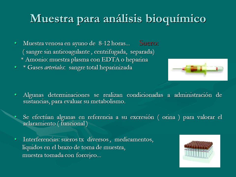 Muestra para análisis bioquímico Muestra venosa en ayuno de 8-12 horas... Suero:Muestra venosa en ayuno de 8-12 horas... Suero: ( sangre sin anticoagu
