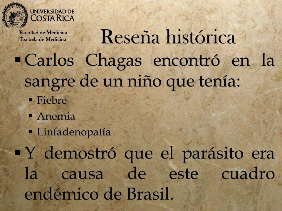 Reseña histórica Carlos Chagas encontró en la sangre de un niño que tenía: Fiebre Anemia Linfadenopatía Y demostró que el parásito era la causa de est