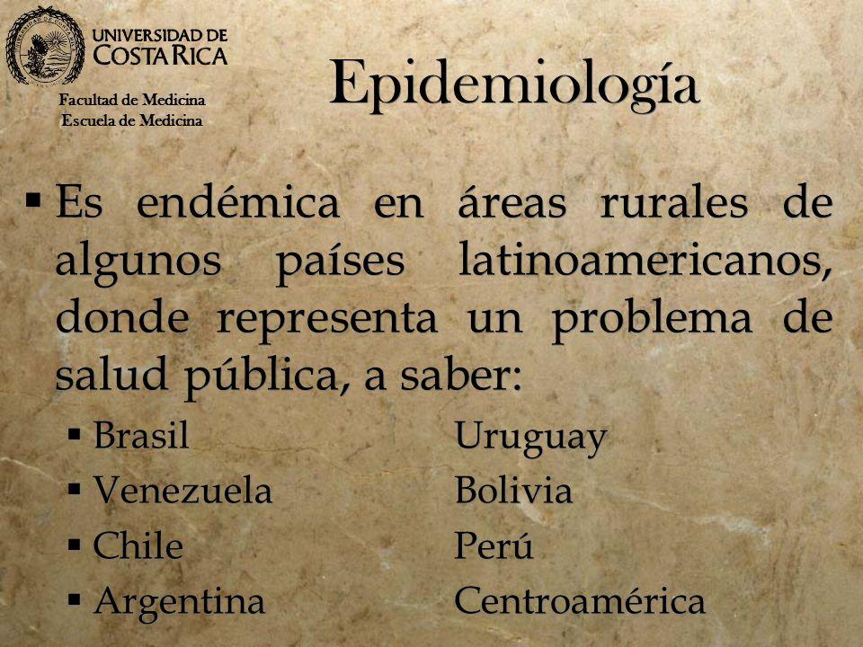 Epidemiología Es endémica en áreas rurales de algunos países latinoamericanos, donde representa un problema de salud pública, a saber: BrasilUruguay V