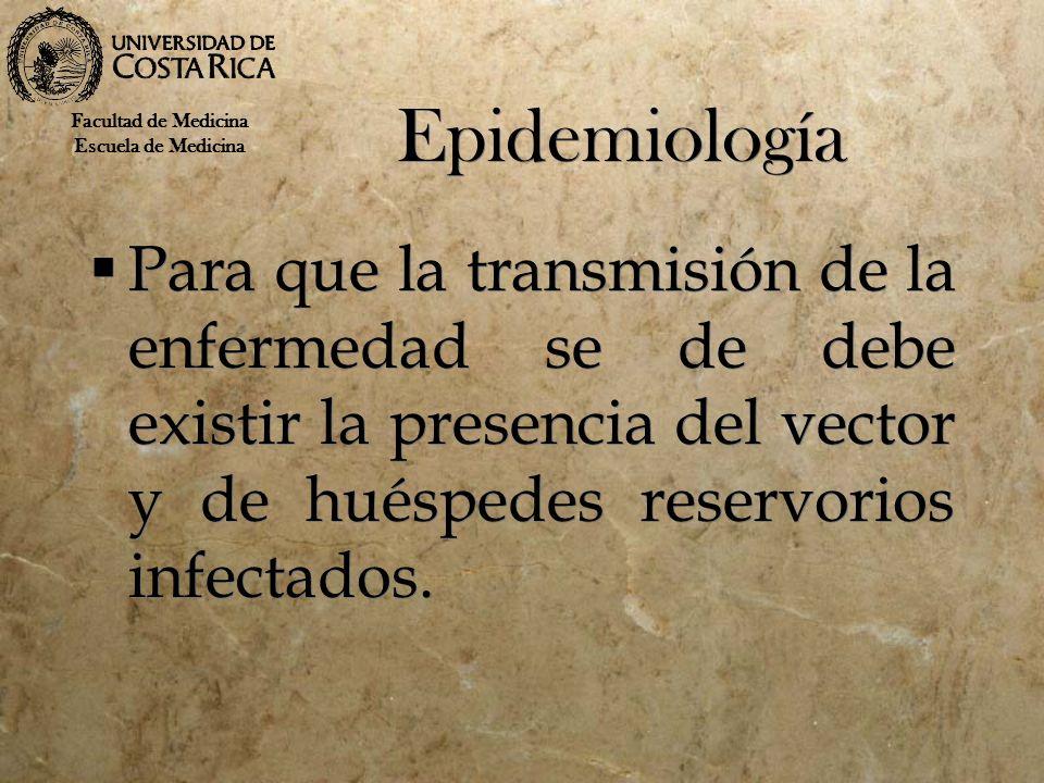 Epidemiología Para que la transmisión de la enfermedad se de debe existir la presencia del vector y de huéspedes reservorios infectados. Facultad de M