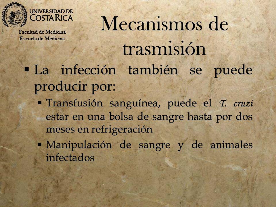 Mecanismos de trasmisión La infección también se puede producir por: Transfusión sanguínea, puede el T. cruzi estar en una bolsa de sangre hasta por d