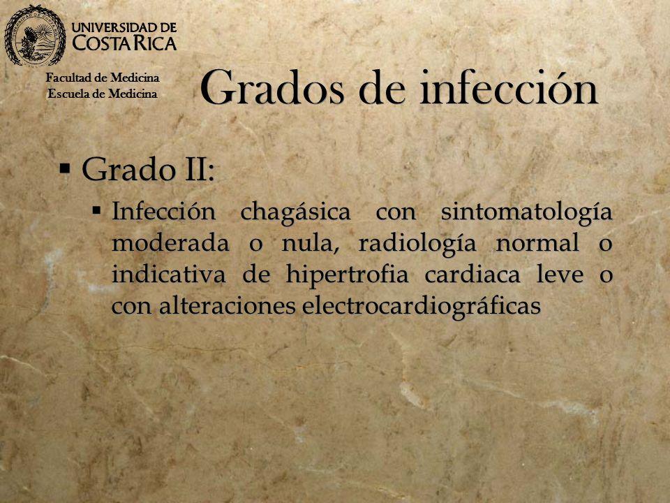 Grados de infección Grado II: Infección chagásica con sintomatología moderada o nula, radiología normal o indicativa de hipertrofia cardiaca leve o co