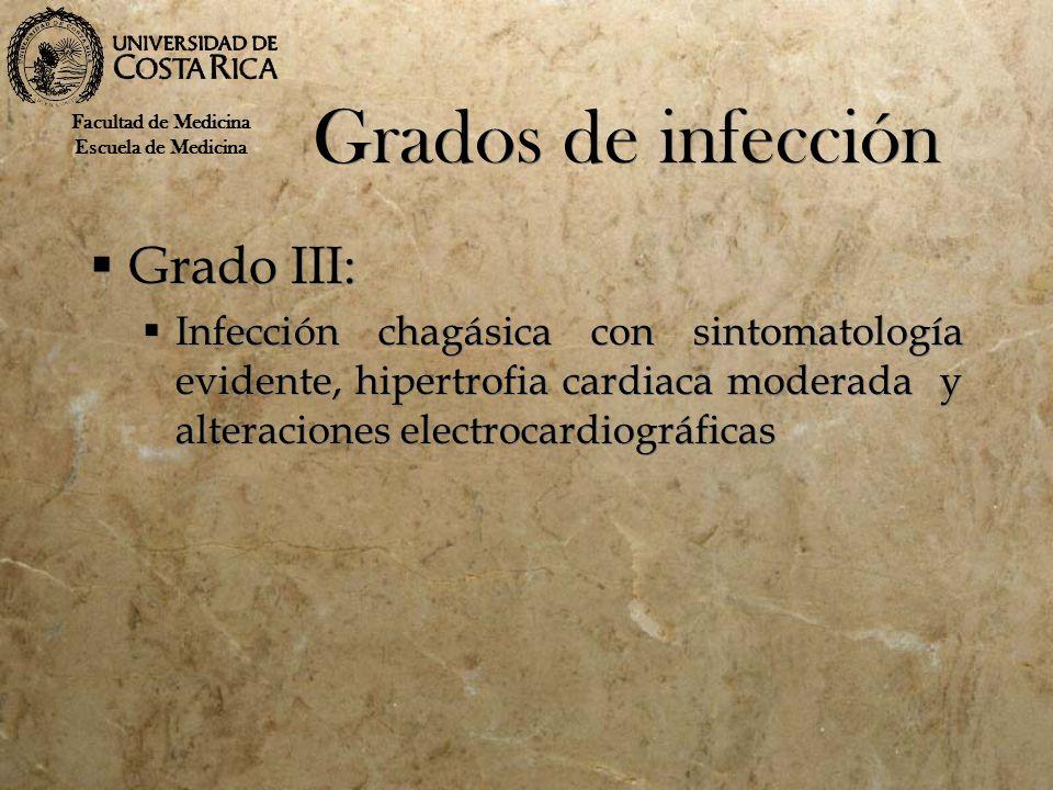 Grados de infección Grado III: Infección chagásica con sintomatología evidente, hipertrofia cardiaca moderada y alteraciones electrocardiográficas Gra
