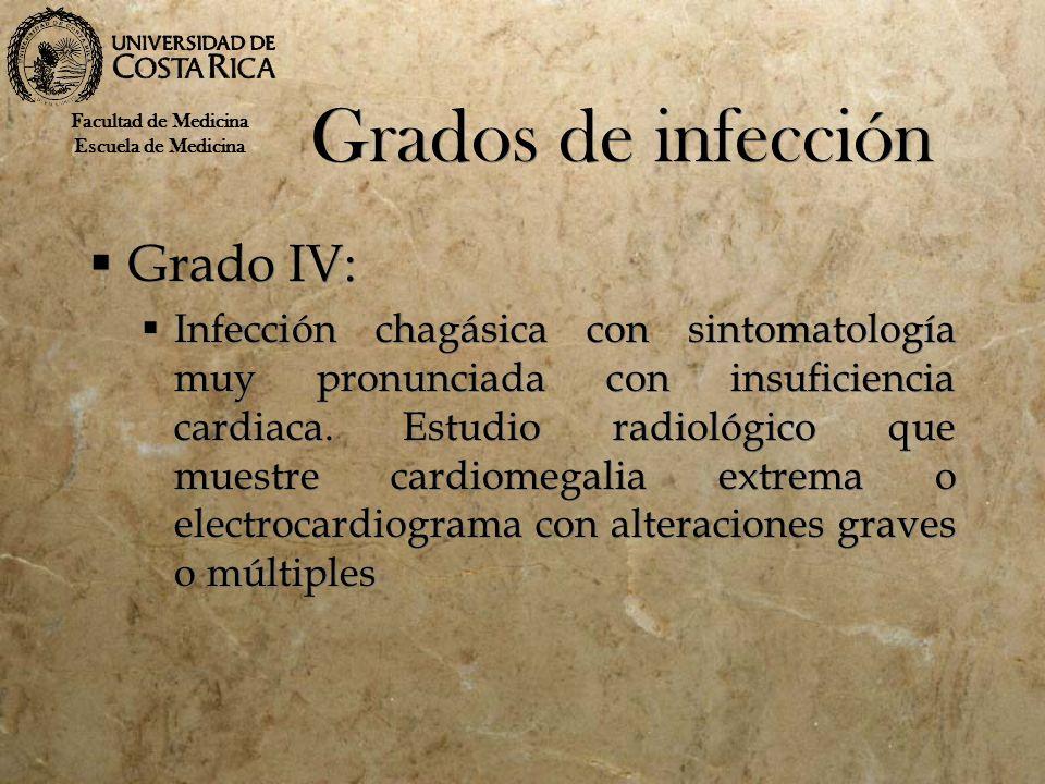 Grados de infección Grado IV: Infección chagásica con sintomatología muy pronunciada con insuficiencia cardiaca.Estudio radiológico que muestre cardio