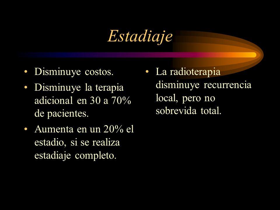 Estadiaje Disminuye costos. Disminuye la terapia adicional en 30 a 70% de pacientes. Aumenta en un 20% el estadio, si se realiza estadiaje completo. L