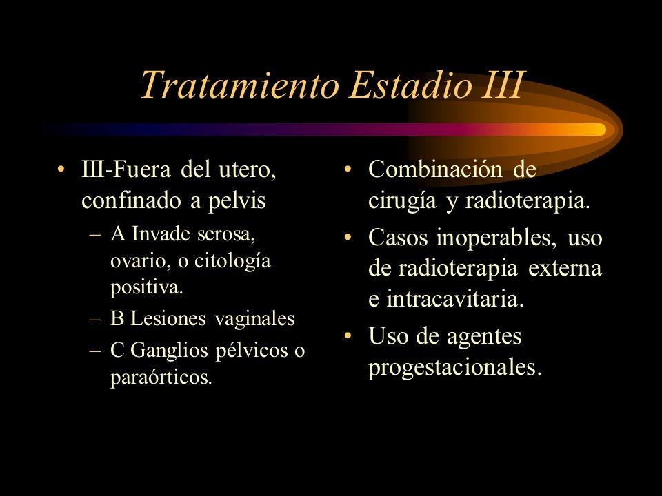 Tratamiento Estadio III III-Fuera del utero, confinado a pelvis –A Invade serosa, ovario, o citología positiva. –B Lesiones vaginales –C Ganglios pélv