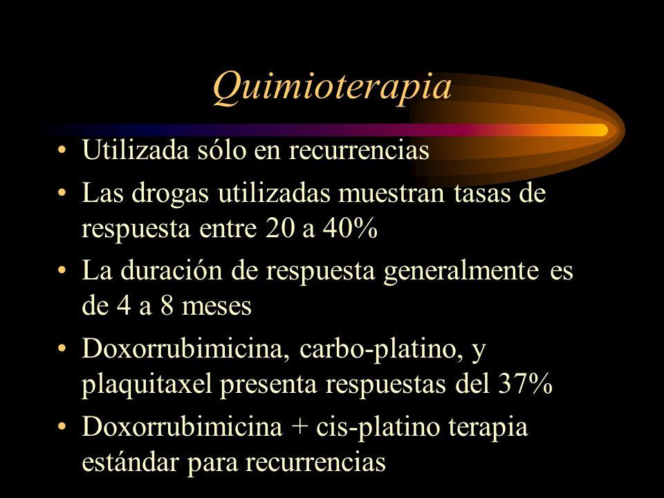 Quimioterapia Utilizada sólo en recurrencias Las drogas utilizadas muestran tasas de respuesta entre 20 a 40% La duración de respuesta generalmente es