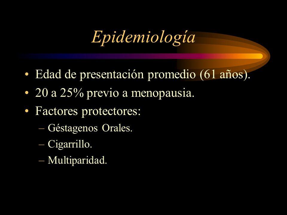 Epidemiología Edad de presentación promedio (61 años). 20 a 25% previo a menopausia. Factores protectores: –Géstagenos Orales. –Cigarrillo. –Multipari