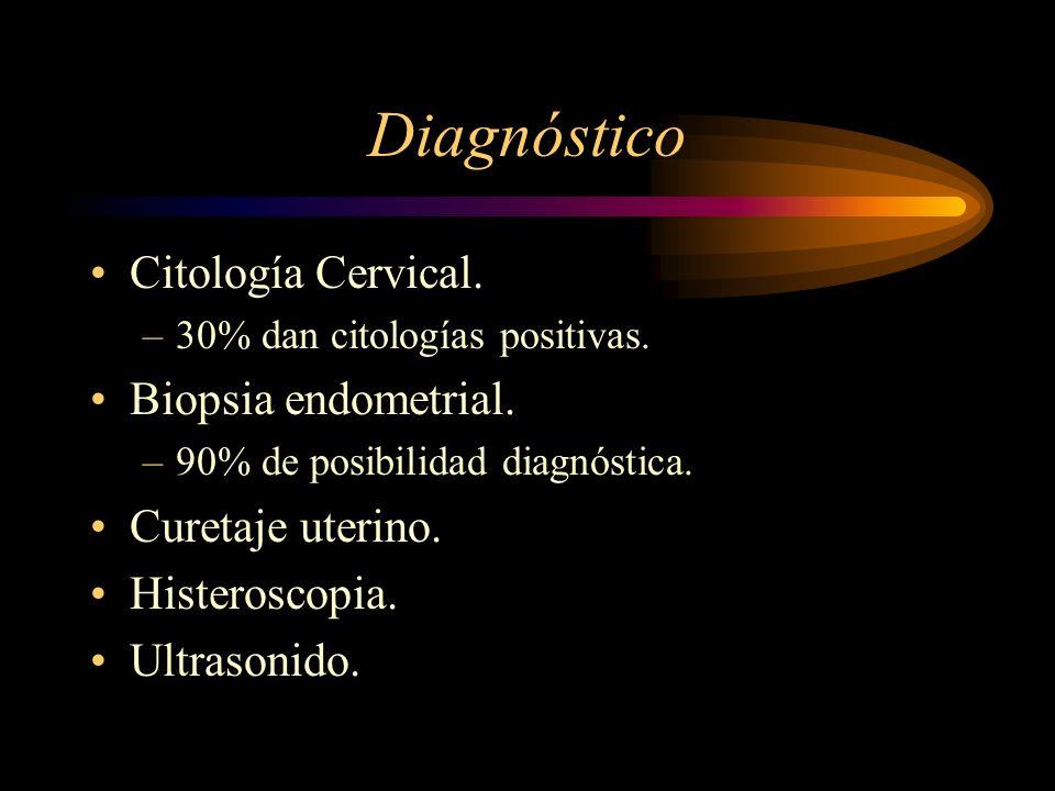 Diagnóstico Citología Cervical. –30% dan citologías positivas. Biopsia endometrial. –90% de posibilidad diagnóstica. Curetaje uterino. Histeroscopia.