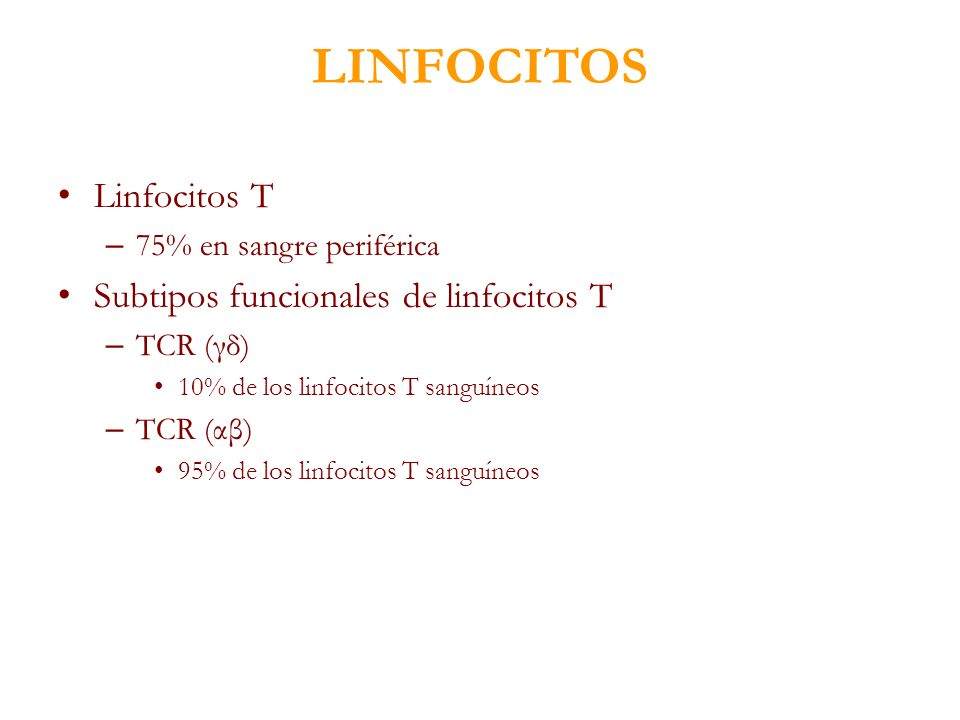 LINFOCITOS Linfocitos T – 75% en sangre periférica Subtipos funcionales de linfocitos T – TCR (γδ) 10% de los linfocitos T sanguíneos – TCR (αβ) 95% d