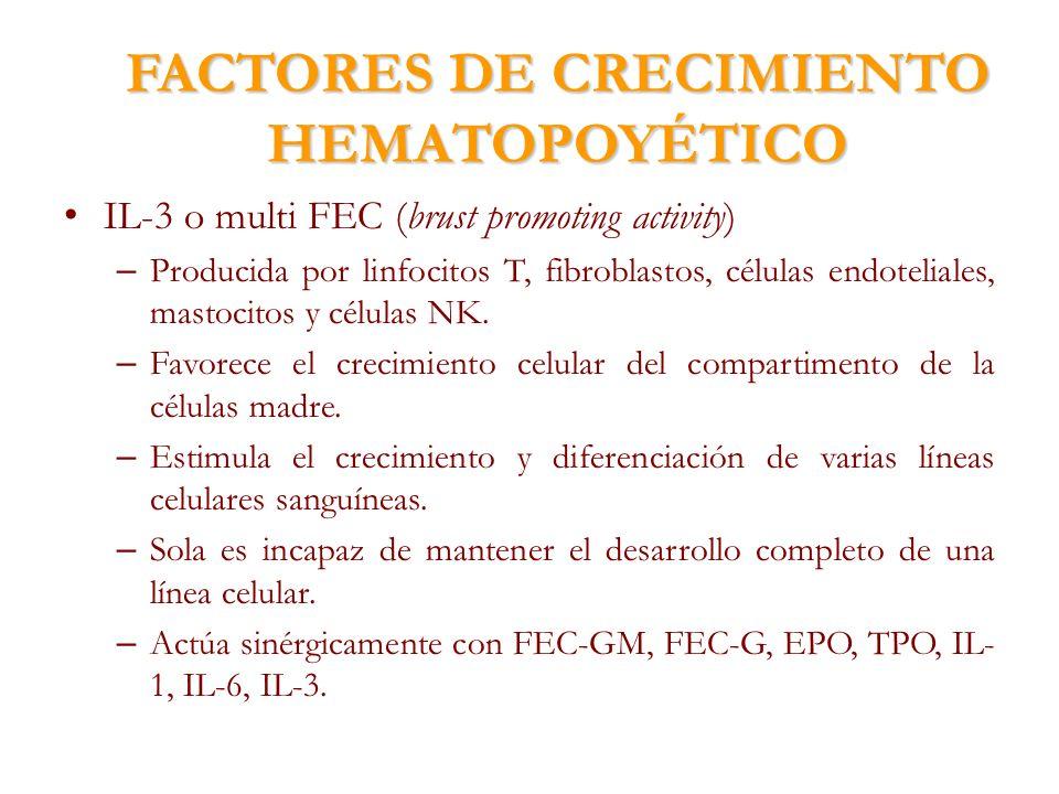 FACTORES DE CRECIMIENTO HEMATOPOYÉTICO IL-3 o multi FEC (brust promoting activity) – Producida por linfocitos T, fibroblastos, células endoteliales, m