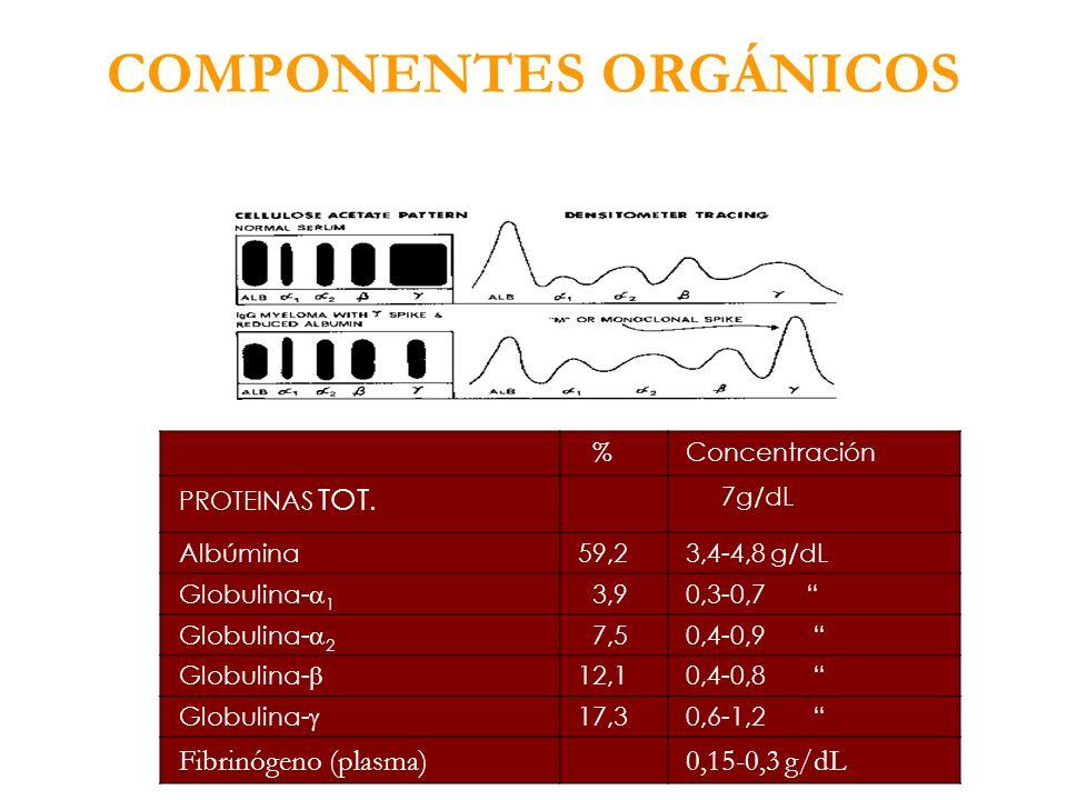 COMPONENTES ORGÁNICOS %Concentración PROTEINAS TOT. 7g/dL Albúmina59,23,4-4,8 g/dL Globulina- 1 3,90,3-0,7 Globulina- 2 7,50,4-0,9 Globulina- 12,10,4-