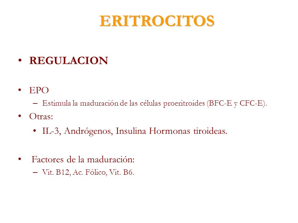 ERITROCITOS REGULACION EPO – Estimula la maduración de las células proeritroides (BFC-E y CFC-E). Otras: IL-3, Andrógenos, Insulina Hormonas tiroideas
