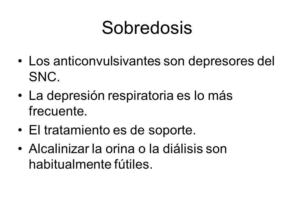 Sobredosis Los anticonvulsivantes son depresores del SNC. La depresión respiratoria es lo más frecuente. El tratamiento es de soporte. Alcalinizar la