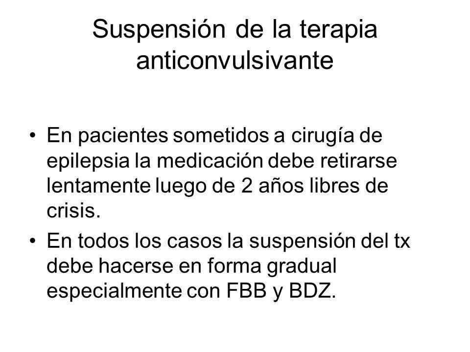 Suspensión de la terapia anticonvulsivante En pacientes sometidos a cirugía de epilepsia la medicación debe retirarse lentamente luego de 2 años libre