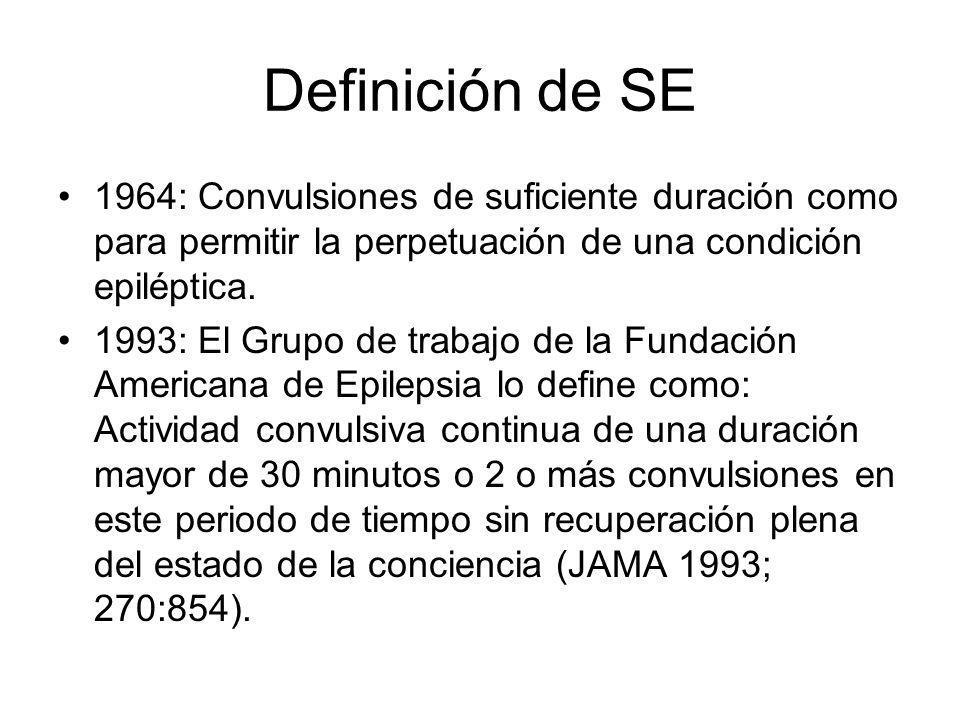 Definición de SE 1964: Convulsiones de suficiente duración como para permitir la perpetuación de una condición epiléptica. 1993: El Grupo de trabajo d