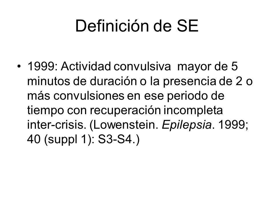 Definición de SE 1999: Actividad convulsiva mayor de 5 minutos de duración o la presencia de 2 o más convulsiones en ese periodo de tiempo con recuper