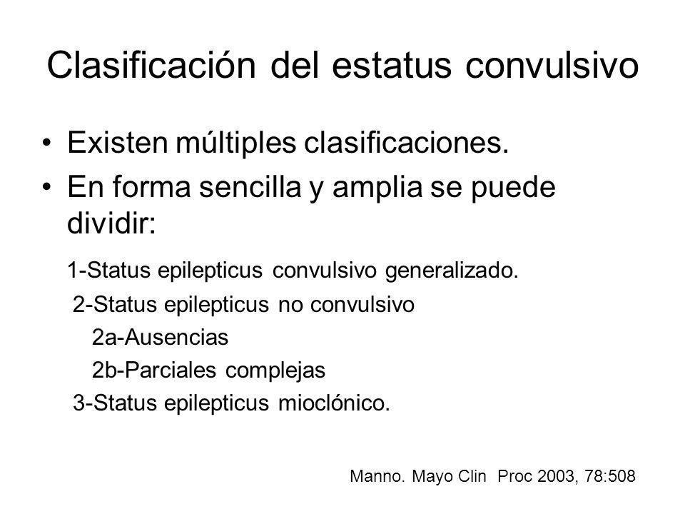 Clasificación del estatus convulsivo Existen múltiples clasificaciones. En forma sencilla y amplia se puede dividir: 1-Status epilepticus convulsivo g