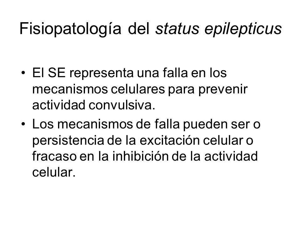 Fisiopatología del status epilepticus El SE representa una falla en los mecanismos celulares para prevenir actividad convulsiva. Los mecanismos de fal