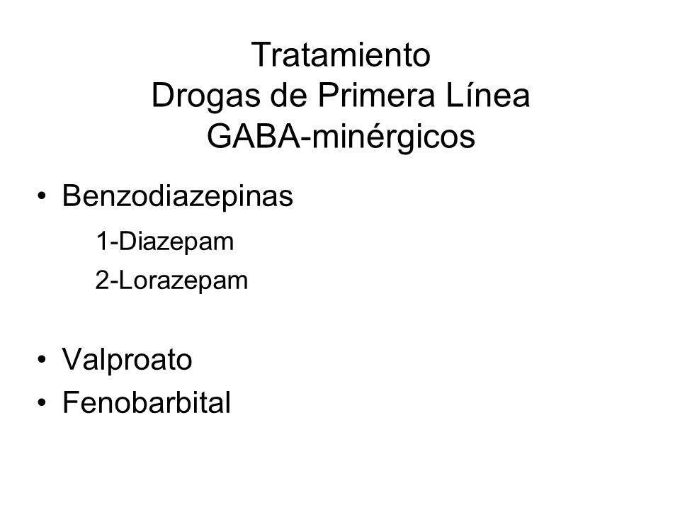 Tratamiento Drogas de Primera Línea GABA-minérgicos Benzodiazepinas 1-Diazepam 2-Lorazepam Valproato Fenobarbital