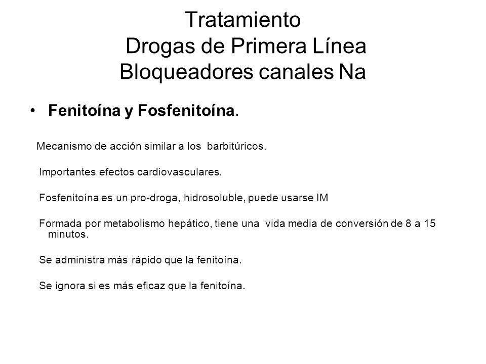 Tratamiento Drogas de Primera Línea Bloqueadores canales Na Fenitoína y Fosfenitoína. Mecanismo de acción similar a los barbitúricos. Importantes efec