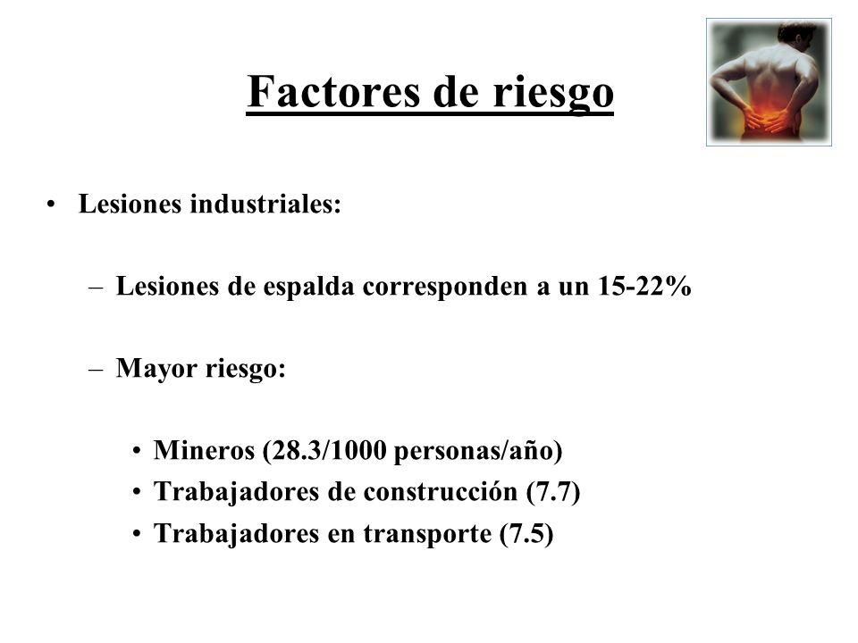 Lesiones industriales: –Lesiones de espalda corresponden a un 15-22% –Mayor riesgo: Mineros (28.3/1000 personas/año) Trabajadores de construcción (7.7
