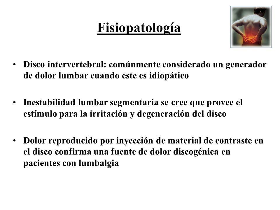 Disco intervertebral: comúnmente considerado un generador de dolor lumbar cuando este es idiopático Inestabilidad lumbar segmentaria se cree que prove