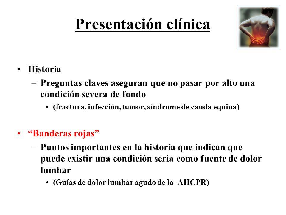 Presentación clínica Historia –Preguntas claves aseguran que no pasar por alto una condición severa de fondo (fractura, infección, tumor, síndrome de