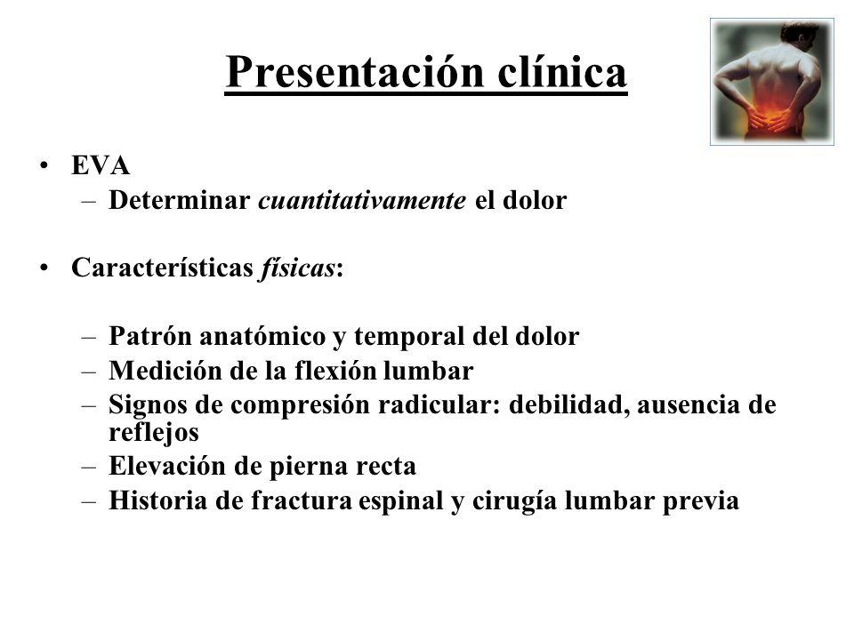 EVA –Determinar cuantitativamente el dolor Características físicas: –Patrón anatómico y temporal del dolor –Medición de la flexión lumbar –Signos de c