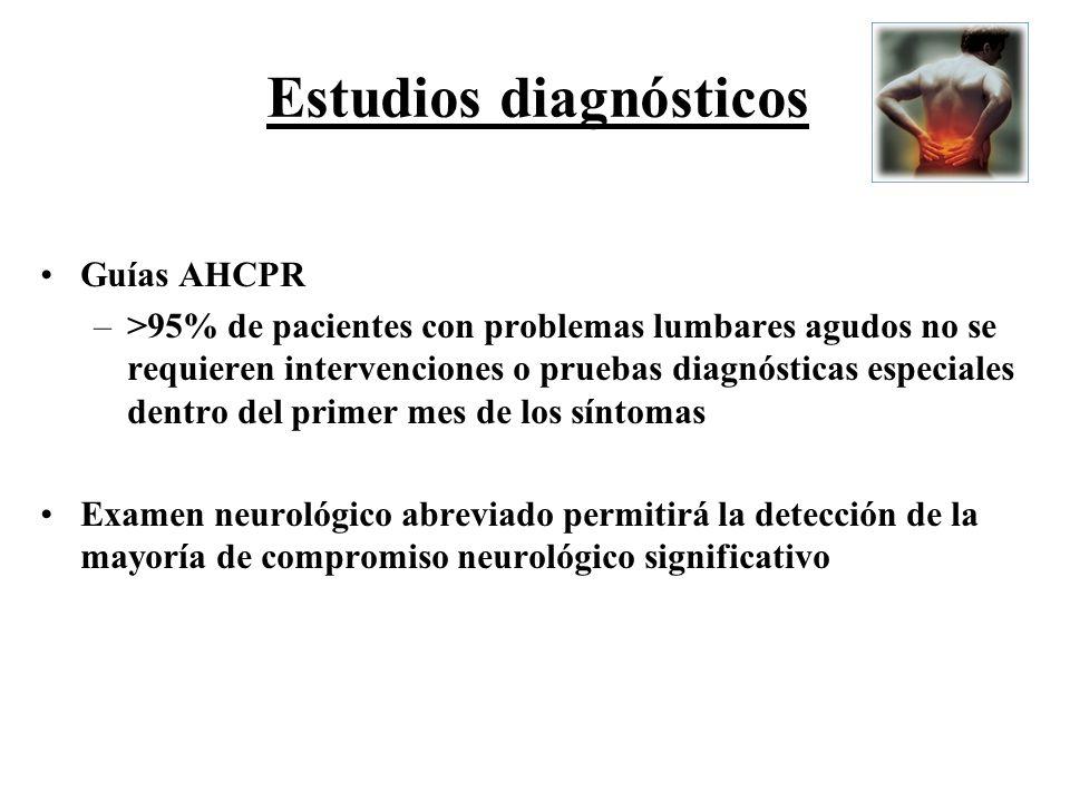 Estudios diagnósticos Guías AHCPR –>95% de pacientes con problemas lumbares agudos no se requieren intervenciones o pruebas diagnósticas especiales de